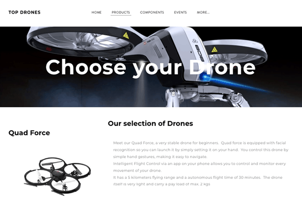 Product page of Top Drones